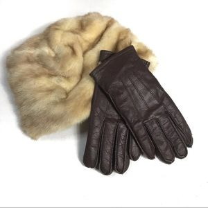 Vintage Rabbit Fur Cap and Leather Ladies Gloves
